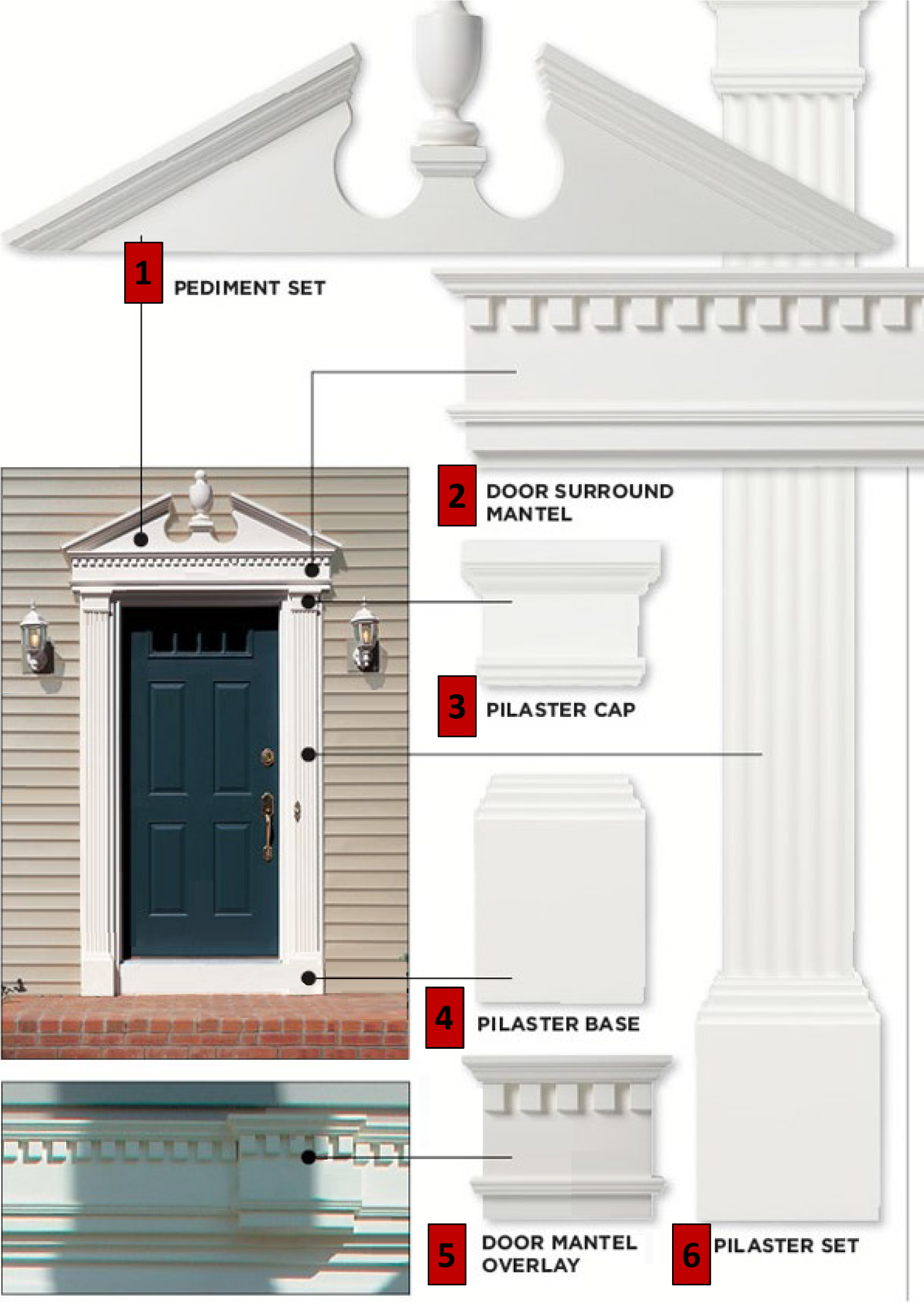 Decorative entry door surrounds for vinyl siding - Decorative exterior door pediments ...