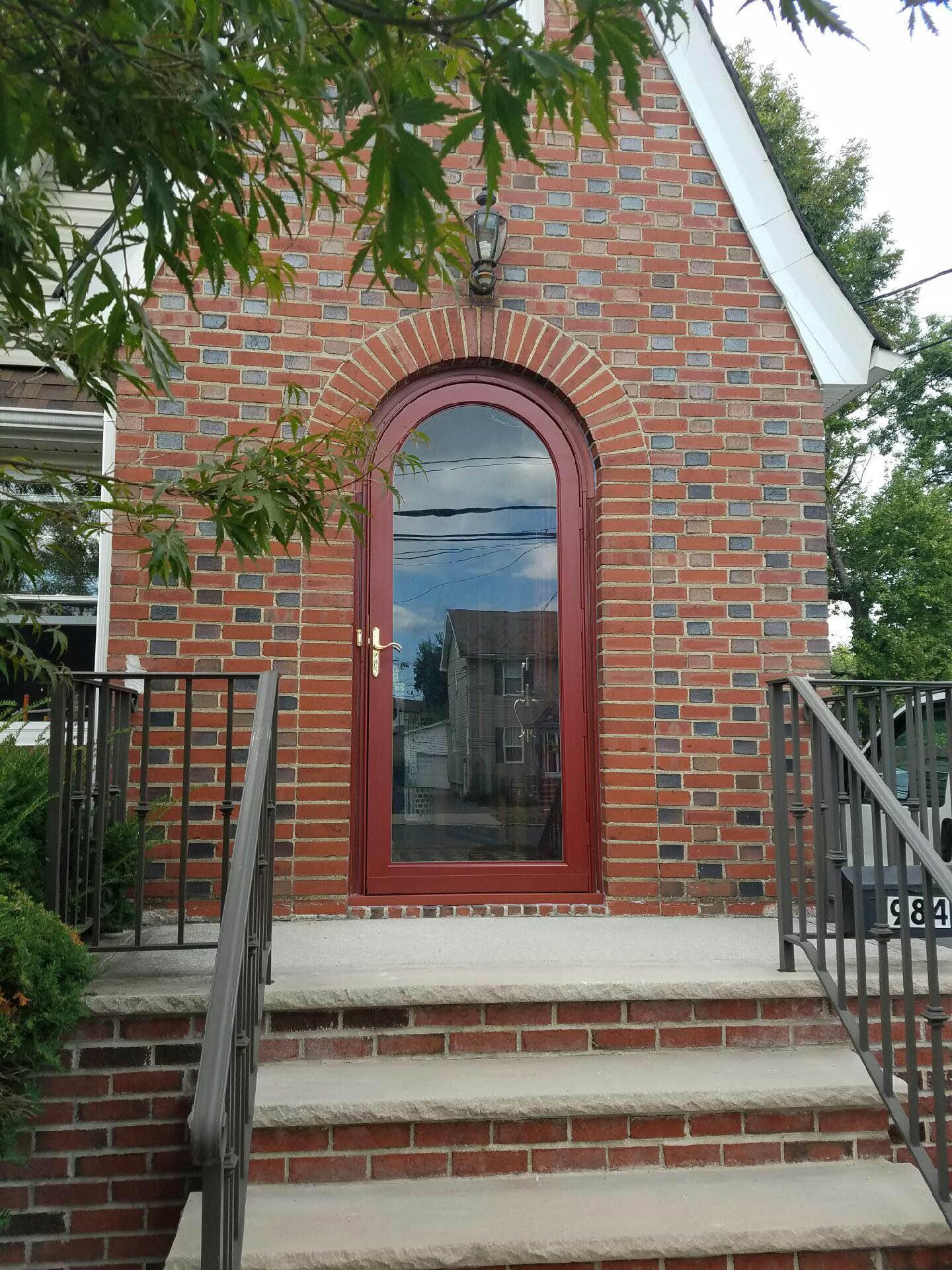 Arch_top_storm_door_union_nj Round Top Storm Door In Red