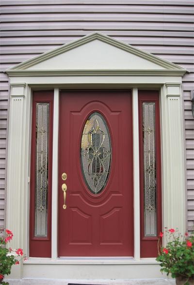 Front Doors With Decorative Gl Red Door Two Sidelites Jpg